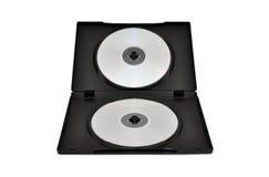 CDs, DVDs in een doos Stock Afbeelding