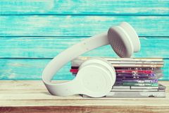 CDs and Headphones. Music Stereo Listening CD Case Audio Equipment Sound stock photo