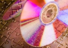 Cds on jigsaws Royalty Free Stock Photo