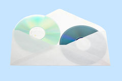 CDs in open mail envelop. Royalty Free Stock Photos