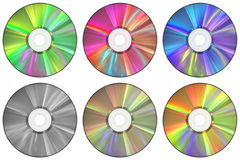 CDs. Six CDs in a variety of colors Stock Photo