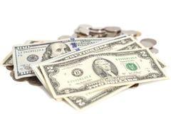 Cédula e moedas dos dólares americanos Fotos de Stock