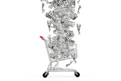 Cédulas do dólar que caem para baixo ao carrinho de compras Imagens de Stock