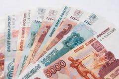 Cédulas do russo do dinheiro Foto de Stock