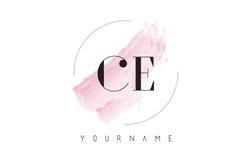 CE C E akwareli listu loga projekt z kurendy muśnięcia wzorem Fotografia Stock