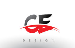 CE C E Brush Logo Letters with Red and Black Swoosh Brush Front Royalty Free Stock Photos