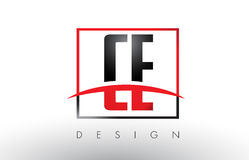 CE C E Logo Letters with Red and Black Colors and Swoosh. Royalty Free Stock Photo