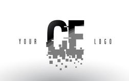 CE C E Pixel Letter Logo with Digital Shattered Black Squares Stock Photography