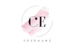 CE C E Watercolor Letter Logo Design with Circular Brush Pattern Stock Photography