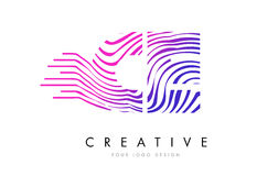CE C E Zebra Lines Letter Logo Design with Magenta Colors Royalty Free Stock Image
