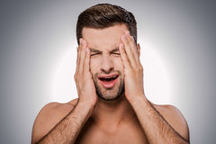 Ce mal de tête terrible ! Images libres de droits