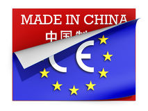 CE marking label over label Made in China Royalty Free Stock Photography