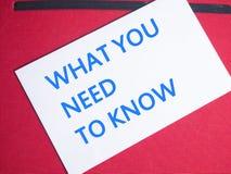 Ce que vous devez connaître, des citations inspirées de motivation photos stock
