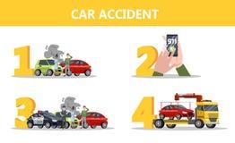 Ce qui à faire après l'instruction d'accident de voiture illustration stock