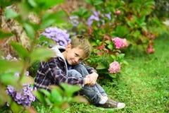 Ce qui à prévoir Le petit garçon détendent dans le jardin Petit garçon s'attendant à quelque chose Vivez dans l'âme même de l'att photo libre de droits