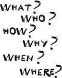 Ce qui, qui, comment, pourquoi quand et où questions illustration stock