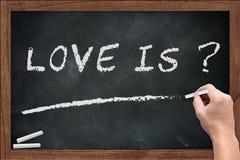 Ce qui est craie de sujet de discussion d'amour sur le tableau noir images libres de droits