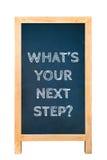 Ce qui est votre message textuel de prochaine étape à bord photo libre de droits