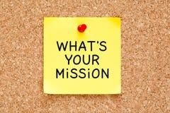 Ce qui est votre note collante de mission Photo stock
