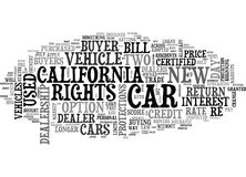 Ce qui le nouvel acheteur S Bill Of Rights Means To de voiture de la Californie vous expriment le nuage illustration libre de droits