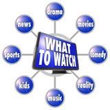 Ce qui pour observer la TVHD programmez le guide d'idées de suggestions Photo stock