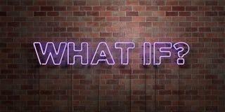 CE QUI SI ? - le tube au néon fluorescent se connectent la brique - vue de face - photo courante gratuite de redevance rendue par illustration stock