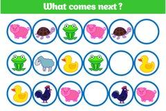 Ce qui vient prochain jeu éducatif d'enfants Badine la feuille d'activité, formant la logique Illustration de vecteur photo stock