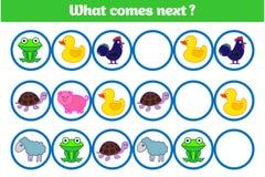 Ce qui vient prochain jeu éducatif d'enfants Badine la feuille d'activité, formant la logique Illustration de vecteur image libre de droits