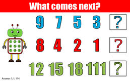 Ce qui vient prochain jeu éducatif d'enfants Badine la feuille d'activité, continue la tâche de rangée mathématiques Images stock