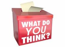 Ce qui vous pensent la boîte de pensées de part d'opinion Images stock