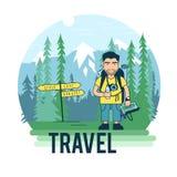 Ce touriste en parc national illustration libre de droits