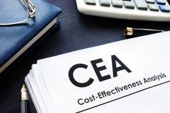 CEA för kostnadseffektivitetsanalys anmäler arkivfoto