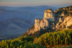 Ceahlau mountains in Romania at sunset. Amazing view in Ceahlau mountains in Romania at sunset stock image