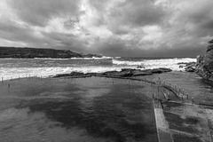 Ocean pool Winter storm Mono Stock Photos