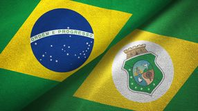 Ceara state and Brazil flags textile cloth, fabric texture. Ceara state and Brazil folded flags together vector illustration