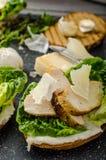 Ceasar salad on panini toast Stock Photos