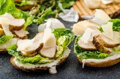 Ceasar salad on panini toast Royalty Free Stock Image
