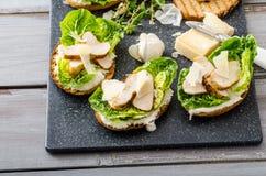 Ceasar salad on panini toast Royalty Free Stock Photography