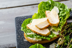 Ceasar salad on panini toast Royalty Free Stock Images