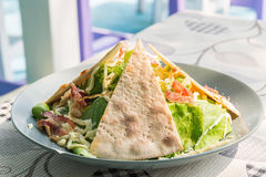 Ceasar salad with pizza bread Royalty Free Stock Images