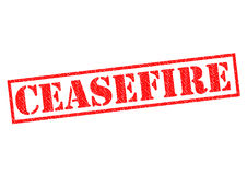 CEASEFIRE. Red Rubber Stamp over a white background Stock Photo
