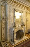 Ceausescu Palace Fire Place. BUCHAREST, ROMANIA - MARCH 7, 2017: The Ceausescu Palace or sometimes called The Ceausescu Mansion or Spring Palace.  Was restored royalty free stock photography