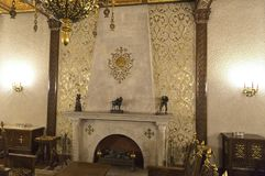 Ceausescu Palace Fireplace. BUCHAREST, ROMANIA - MARCH 7, 2017: The Ceausescu Palace or sometimes called The Ceausescu Mansion or Spring Palace.  Was restored to stock photography