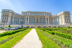 Ceausescu Palace and gardens at Bucharest. The dictator loved art and his palace had a rich art collection. You can take a guided tour to visit a little part of Stock Image