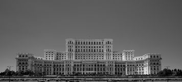 Ceausescu Palace of the Parliament Bucharest Romania in blacka and white stock photography