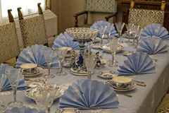 Ceausescu Palace Table. BUCHAREST, ROMANIA - MARCH 7, 2017: The Ceausescu Palace or sometimes called The Ceausescu Mansion or Spring Palace.  Was restored to how royalty free stock photos