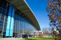 CeBIT area. The exterior of a CeBIT exhibition hall in Hanover 2013 Royalty Free Stock Photos