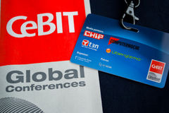 CeBIT pass card. CeBIT conference pass card together with logo Stock Photos