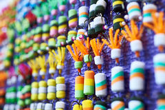 Cebo colorido del gomaespuma en tienda de la pesca foto de archivo