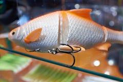 Cebo de pesca plástico Fotos de archivo